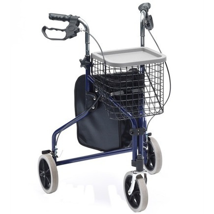 Drive Medical Steel Tri walker with Bag, Basket & Tray
